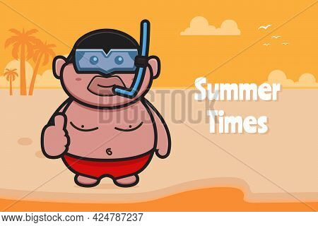 Cute Fat Boy Wearing Swimming Goggles With Good Pose With A Summer Greeting Banner Cartoon Vector Ic