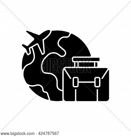 Business Travel Black Glyph Icon. Fly For Work Meeting. International Journey. Corporate Trip To For