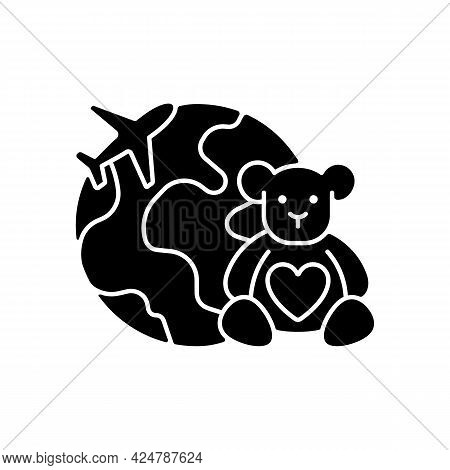 Orphanage Tourism Black Glyph Icon. Volunteer Fly Abroad For Children Charity Support. Visit Foreign