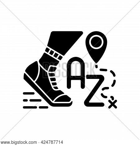 Alphatourism Black Glyph Icon. Leisure Activity And Lifestyle. Traveller Journey. Route For Exercisi