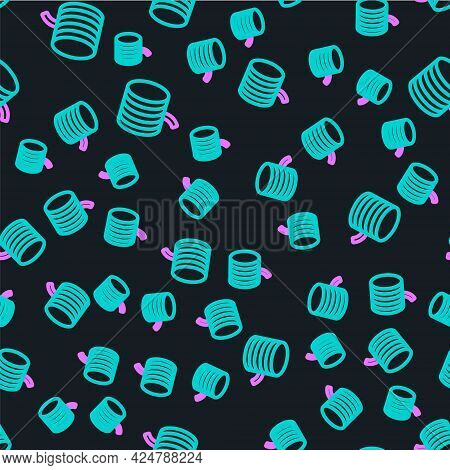 Line Plastic Filament For 3d Printing Icon Isolated Seamless Pattern On Black Background. Vector
