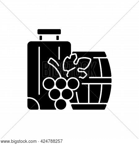Industrial Tourism Black Glyph Icon. Journey Abroad For Wine Tasting. Journey For Gastronomy And Vin