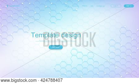 Landing Page Design Template For Science, Medicine, Technologies, Business, Education With Hexagons