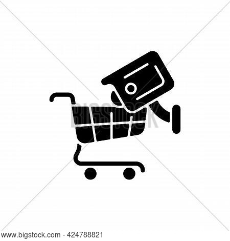 Tracking Customers With Surveillance Camera Black Glyph Icon. Shoplifting Prevention. Protecting Sta