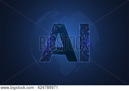 Artificial Intelligence And Machine Learning Concept Futuristic Vector Symbol. Artificial Intelligen