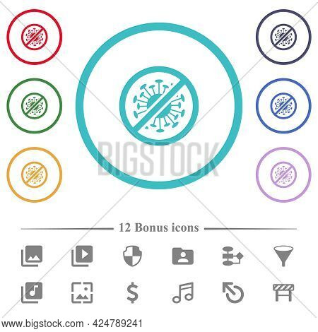 No Covid Flat Color Icons In Circle Shape Outlines. 12 Bonus Icons Included.