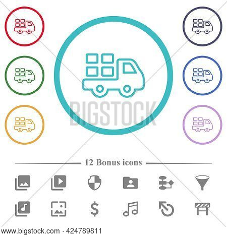 Transport Outline Flat Color Icons In Circle Shape Outlines. 12 Bonus Icons Included.