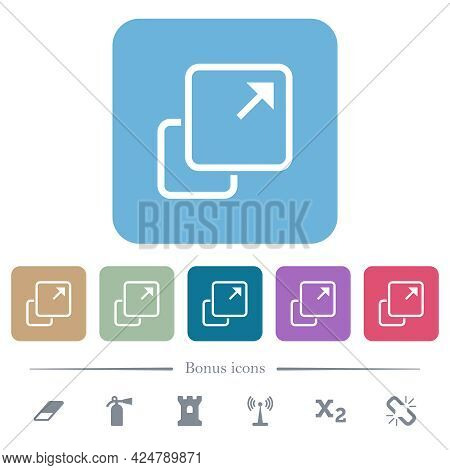 Extend Element White Flat Icons On Color Rounded Square Backgrounds. 6 Bonus Icons Included