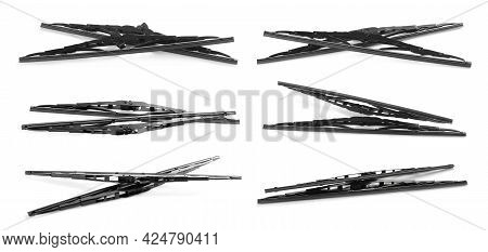 Set With Car Windshield Wipers On White Background. Banner Design