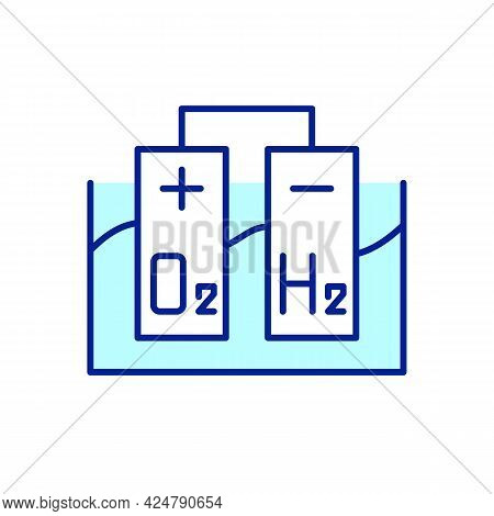 Hydrogen Production Rgb Color Icon. Water Splitting Into Hydrogen And Oxygen. Isolated Vector Illust