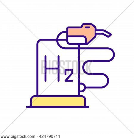Hydrogen Fueling Station Rgb Color Icon. Gasoline Alternative. Refueling Location. Isolated Vector I