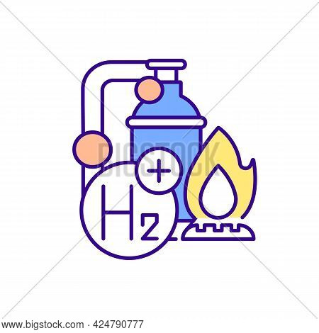 Hydrogen Boiler Rgb Color Icon. Decarbonizing Heating. Achieving Carbon Neutrality. Isolated Vector