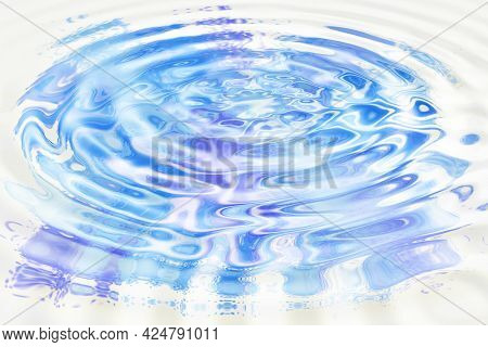 Abstract Background With Blue And Lilac Water Ripples On White