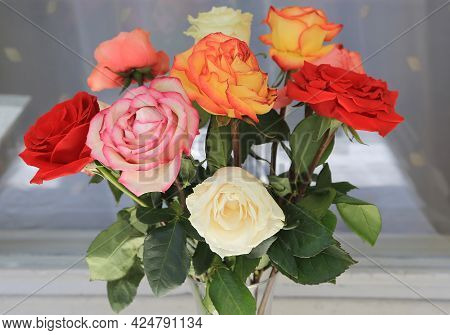 Bouquet Of Colorful Wilting Roses, Close Up