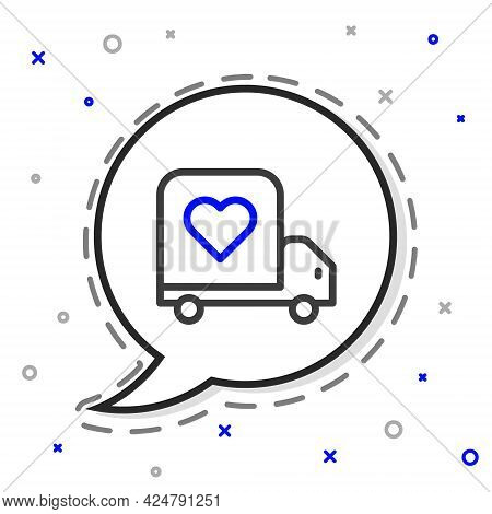 Line Delivery Truck With Heart Icon Isolated On White Background. Love Delivery Truck. Love Truck Va