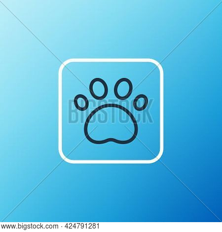 Line Paw Print Icon Isolated On Blue Background. Dog Or Cat Paw Print. Animal Track. Colorful Outlin