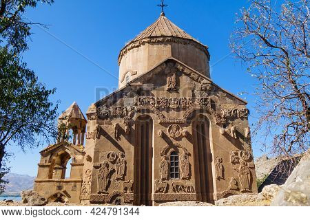 Eastern Side Of Medieval Armenian Cathedral Of Holy Cross & Its Bas-reliefs, Akdamar Island, Van Lak
