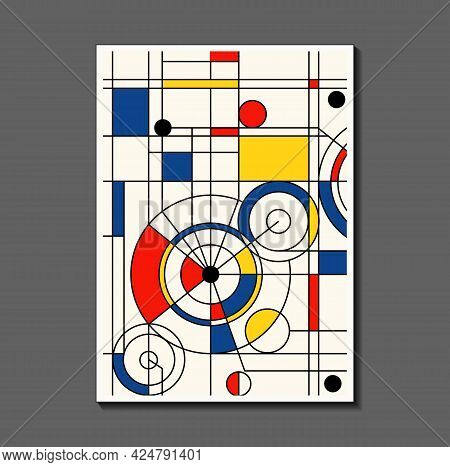 Steampunk Mechanic. Fashion Poster Inspired By Postmodern Mondrian. Neoplasty, Bauhaus. Useful For I