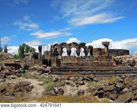 Panoramic View Onto Ruins Of Ancient Christian Cathedral Zvartnots, Vagharshapat, Armenia. Temple Wa