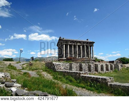 Side View On The Temple Of Garni, The Only Standing Greco-roman Colonnaded Building In Armenia, And