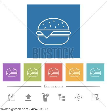 Single Cheeseburger Flat White Icons In Square Backgrounds. 6 Bonus Icons Included.