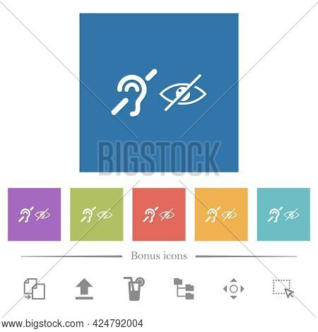 Hearing And Visually Impaired Symbols Flat White Icons In Square Backgrounds. 6 Bonus Icons Included