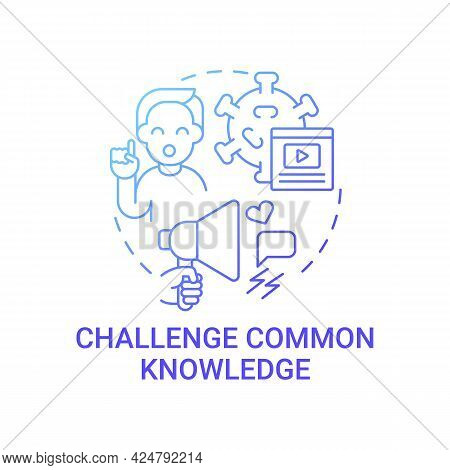Challenge Common Knowledge Concept Icon. Viral Content Abstract Idea Thin Line Illustration. Backing