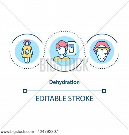 Dehydration Concept Icon. Summer Illness Abstract Idea Thin Line Illustration. Feeling Thirsty. Body