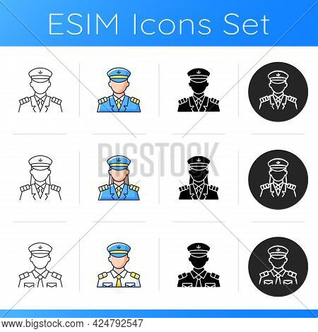 Cruise And Hotel Staff Icons Set. Service Providers For Customers. Comfortable Vacation. Proffesiona