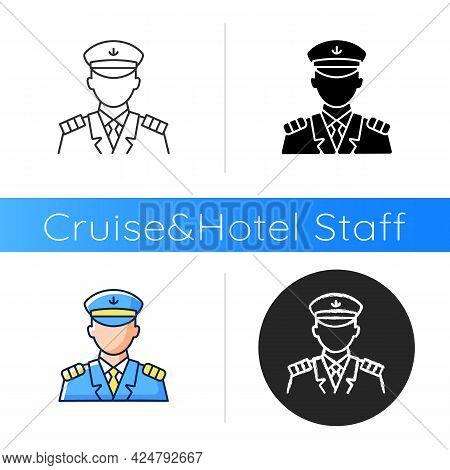 Male Captain Icon. Person Controling All Cruise Crew. Providing Best Service For Customers. Providin