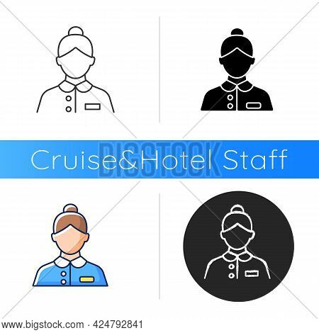 Abin Steward Icon. Cleaning Room Of Passengers During Traveling. Answering Questions Of Visitors. He