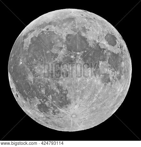 Big Moon On Black Sky Without Stars At Midnight With Lunar Craters That Are Very Well Visible