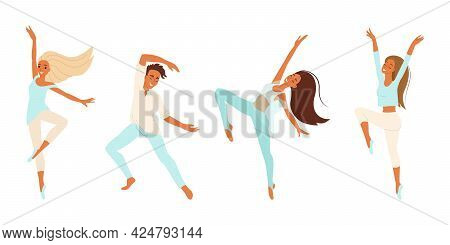 Dancers, Cheerful People Dancing, Girls And Boy Engaged In Modern Dance, Vector Set Of Cartoon Chara