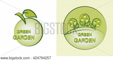 Apple. Green Garden. Logo. Can Be Used As Emblem, Label, Web Print, Sticker. Design For A Business P