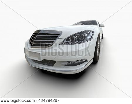 Generic and Brandless LuxuryCar Isolated on White 3d Illustration, Contemporary Sedan Studio, Dealership Automobile Industry, Auto Transport, Infographics Automotive Background, City Vehicle Template