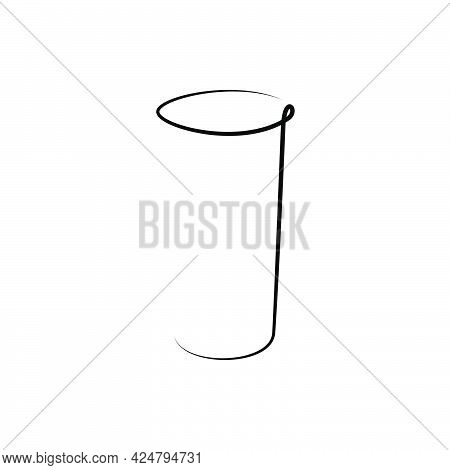 Rum Wineglass On White Background. Graphic Arts Sketch Design. Black One Line Drawing Style. Hand Dr