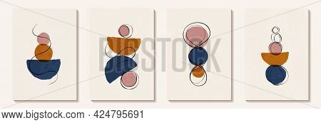 Creative Minimalist Hand Painted Abstract Art Background With Watercolor Circle And Half Circle With