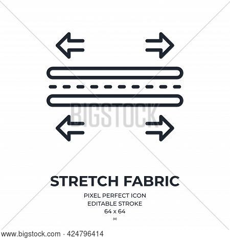 Stretch And Elastic Fabric Feature Tag Editable Stroke Outline Icon Isolated On White Background Fla