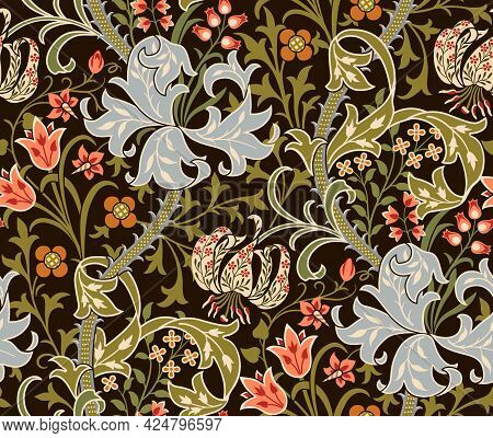 Floral Seamless Pattern With Big Flowers, Lily And Foliage On Dark Background. Vector Illustration.