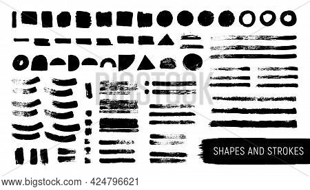 Artistic Isolated Realistic Textured Brushstrokes And Shapes Kit.