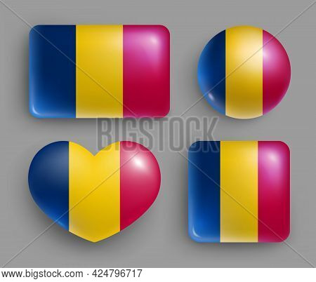 Set Of Glossy Buttons With Chad Country Flag. Middle Africa Republic National Flag, Shiny Geometric