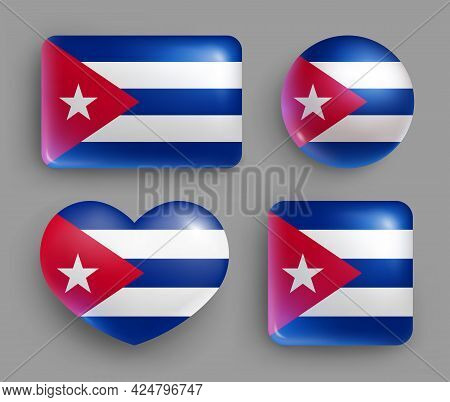 Set Of Glossy Buttons With Cuba Country Flag. Latin America Country National Flag, Shiny Geometric S