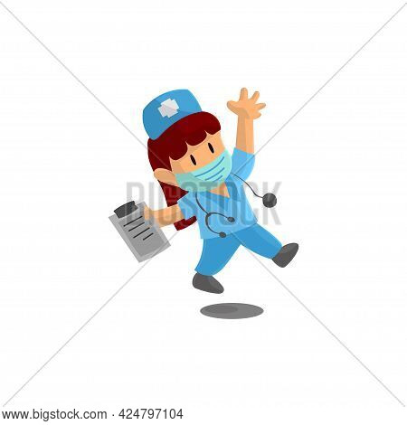 Nurse Jump Character Design Vector Illustration For International Nurse Day