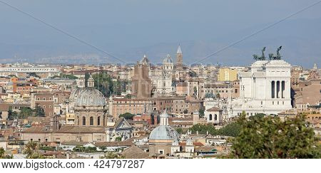 Panoramic View Of The City Of Rome From The Hill Called Gianicolo And You Can Also See The Huge Whit