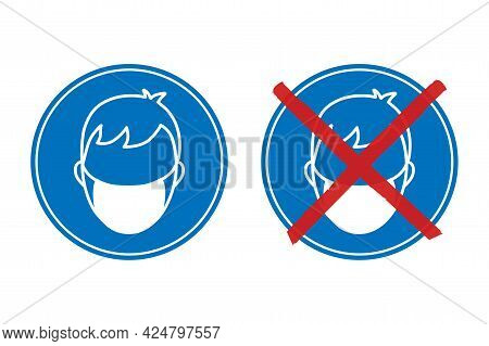 Face Mask Required Und No Mask Required Blue Round Signs. White Outline Of A Person Wearing A Mask.