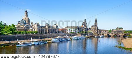 Panoramic View At The City Center Of Dresden, Germany