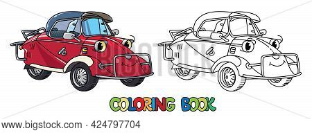 Funny Small Retro Car With Eyes. Coloring Book