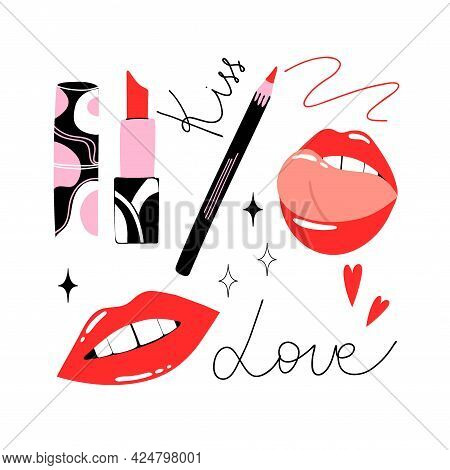 Lips And Lipstick Cosmetic. Cartoon Hand Drawn Cosmetics. Bright Abstract Container, Female Mouth An