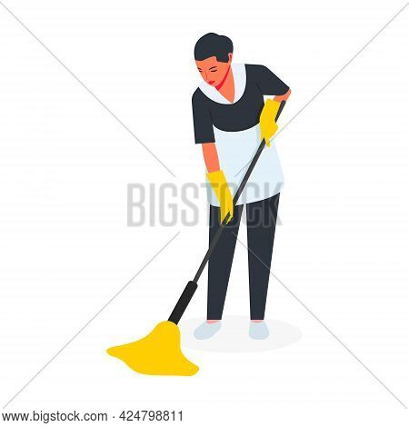 A Woman Maid Does Cleaning, Washes The Floor With A Mop In Yellow Gloves, Cleaning, Disinfection Of