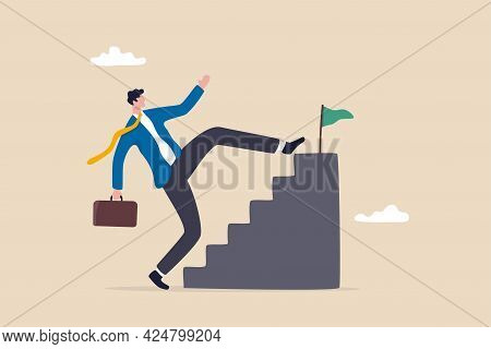Shortcut Or Advancement In Career Development Or Work To Achieve Target, Skip Step To Reach Goal Or